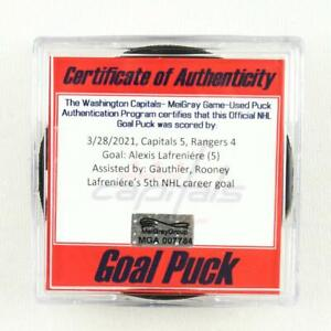 2020-21 Alexis Lafreniere New York Rangers Game-Used Goal-Scored Puck -5th Goal