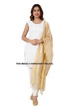 Indian Art Silk Woven Zari Chanderi Long Stole Banarasi Dupatta Shawl Beige