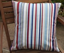 """BLUE AND RED STRIPED NAUTICAL SEASIDE CUSHION COVER 16 X 16"""" 100% COTTON"""