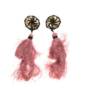 RRP €270 DSQUARED2 Samurai Tassel Earrings Large Wrapped Leather Clip On Closure
