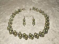 Freshwater Pearl Aloe & Necklace Set Swarovski Crystal Op Star Shine & Cultured
