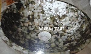 "12"" Marble Seashell Stone Washbasin Mosaic Art Inlay Restaurant Decorative H3403"
