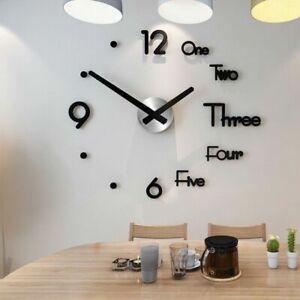 3D DIY Large Frameless Wall Clock Mirror Number Sticker Modern Home Room Decor