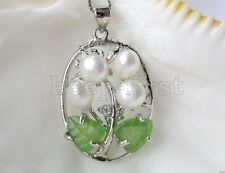New Fashion 6-7mm Natural White Freshwater Pearl Green Jade Leaves Pendant