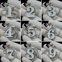 """18""""-30""""MEN 925 STERLING SILVER 2MM MOON CUT BEADED CHAIN NUMBER PENDANT*SP179"""