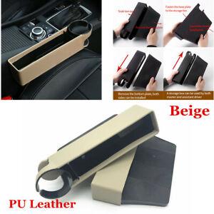 2x Beige Catcher Storage Box Car Interior Accessory Seat Crevice Filler Pocket