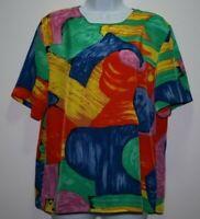 Kathy Che Womens Vintage Multicolor Art Print Blouse Shirt Top Size M
