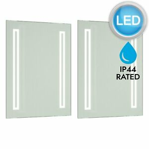 2 x Battery Operated LED Illuminated Bathroom Mirrors IP44 - No Wiring Required