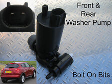 Front & Rear Windscreen Washer Pump Fits Nissan Juke 2010 and later models