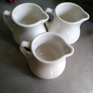 Buffalo China Creamer Syrup Pitcher White Restaurant Ware Made in USA Set of 3