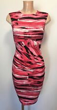 Pink Print Ruch Feature Front Wiggle Pencil Office Shift Dress Size 10 - 18