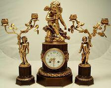 Antique french clock Garniture. L. LEROY & Cie, Paris. Circa 1900