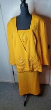 Elsa Loraine Womens Gold Embellished 2pc Skirt Suit Sz 24W Pre-owned