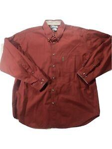 Columbia Sportswear Men's XL Button Down Dress Shirt Brick Red Long Sleeve