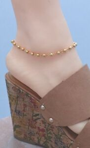 FROSTED & HIGH POLISH DESIGN 14Kt Gold Clad Bonded ANKLET ANKLE BRACELET 9-12.5