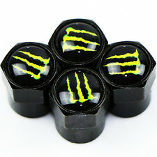 Monster Carbon Black Wheel Tyre Valve Dust Caps x4 Car Bike BMX Dustcaps JDM