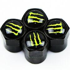Monster Carbon Black Wheel Tyre Valve Dust Caps x4 Car Bike BMX Dustcaps JDM