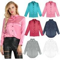 Fashion Satin Blouse for Women Long Sleeve Ladies Tops Button Down Office Shirts