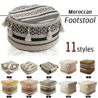 Round Square Moroccan Footstool Pouffe Ottoman Pouf Cover Vintage DIY Handmade