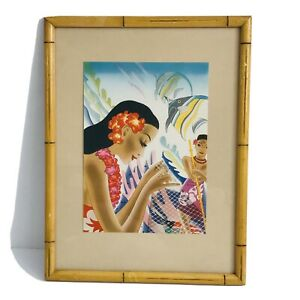 Matson Liner Lurline Menu Art Hawaiian Print Frank Macintosh Bamboo Frame 1930s