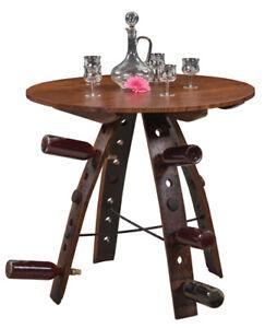 "Amish Rustic Round 36"" Pub Whiskey Barrel Stave Swivel Dining Table Wine Holder"