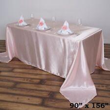 "1 pc Blush 90x156"" RECTANGLE Satin TABLECLOTH Wedding Party Banquet Linens"