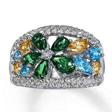 Brand New Sterling Silver Genuine Multi-Color Topaz Flower Ring