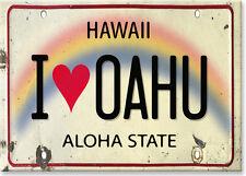 Hawaiian Art Collectible Refrigerator Magnet - I Love Oahu License Plate