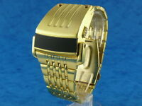 GOLD Chunky Rare Old Vintage Retro 70s Driver Style LED LCD DIGITAL Watch 1