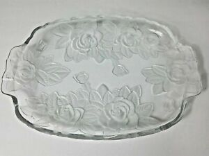 Studio Nova Winter Rose Embossed Frosted Clear Glass Oblong Handled Serving Tray