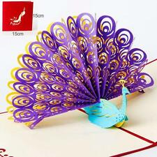 US SHIP 3D Pop Up Greeting Card Peacock Birthday Easter Anniversary Mother's Day