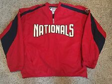 Majestic NATIONALS Baseball Jacket 1/4 zip XL AUTHENTIC Winbreaker Pullover Sewn