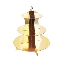 GOLD 3 Tier Disposable Dessert Treat Tower New Years Party Decor Cupcake Stand