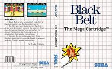 Black Belt Sega Master System Caja De sustitución Cubierta Estuche De Arte insertar escanear