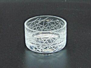 Rarely Seen Salviati Cut Glass Tea Light Holder with Intricate Etching (AP158G)