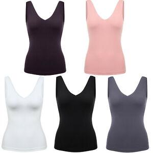 Womens Padded Yoga Tank Tops Camisole Sleeveless Shirt Ladies Built-in Bra Vest