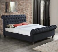 Castello 5ft King Size Fabric Bed in Grey or Charcoal Bedroom Luxurious Modern