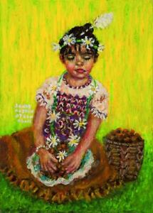 Sandy Austin Stein Meditation 5x7 Mixed Media Painting Native American Child
