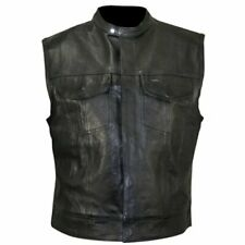 Mens Real Leather Motorcycle Biker Vest Xelement