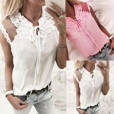 Womens Lace Up Crochet Sleeveless Shirt Office Ladies Summer Loose Blouse Top
