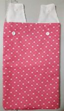 Catheter leg bag cover . Pink with white tiny polka-dots and loving hearts