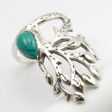 Solid Sterling Silver Turquoise Ring Size 8 Ladies Stone Jewelry