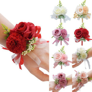 Bride Wrist Flower Rose Corsage Bridesmaid Groom Boutonniere Gifts Wedding Party