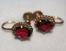 100% Genuine Vintage 9k Solid Gold Screw back Earrings with 2.5ct Garnets.
