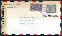 PANAMA TO USA Air Mail Censored Cover 1943 VERY NICE!