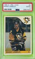 Mario Lemieux RC 1985-86 O-Pee-Chee #9 OPC Rookie NHL PSA 2