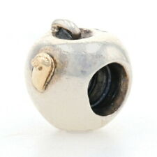 Authentic Pandora Apple with Worm Charm Sterling 14k Gold Teacher 790168 Retired
