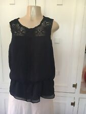 NWT Adrianna Papell Navy Blue Lace Top Peplum Blouse Polyester Sleevele