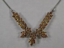 New 9.15 Ct Pear Round Sri Lankan Yellow Sapphire Platinum over .925 18 Necklace