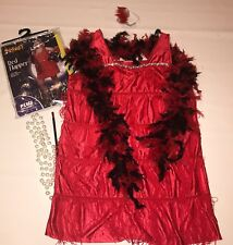 Red Flapper Fringe Dress Halloween Costume Womens Plus Size to 16  20's 30's Boa